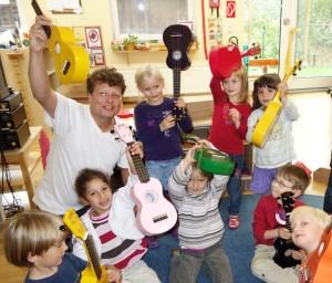 Monte-Ukulele-Kindergruppe im Montessori Kindergarten Frasdorf