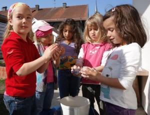 filzen im Montessori Kindergarten Frasdorf
